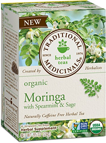 Traditional Medicinals Organic Moringa with Spearmint & Sage Herbal Tea, 16 Tea Bags (pack of 6)