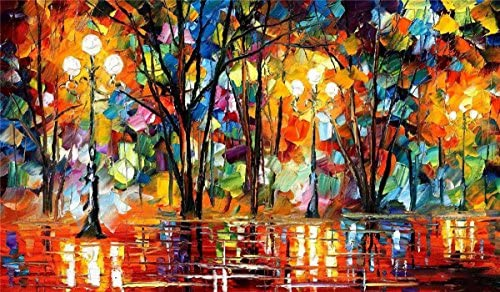 Bingo Arts 100 Hand Painted Oil Paintings on Canvas Contemporary Abstract Oil Paintings Modern Wall Art Paintings Colorful Night Decor 24X40 Inch, Decor 3