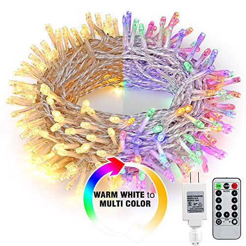 Brizled Color Changing Indoor String Lights, 65.67ft 200 LED 9-Function Warm White MultiColor LED String Lights, Dimmable 24V Safe Adapter Fairy Light with Timer&Remote for Easter Pastel Party Wedding (Christmas Lights Tree)