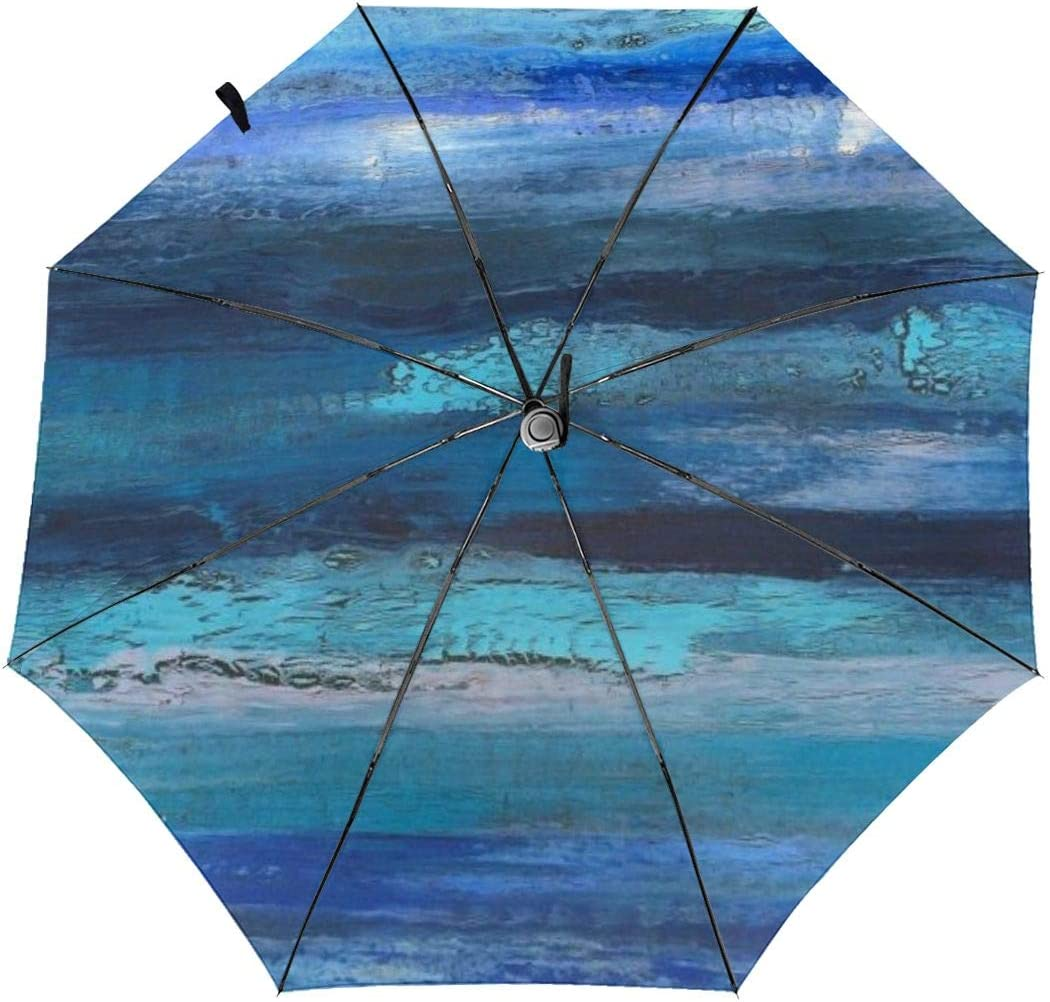 Abstract Painting Automatic Windproof Travel Umbrella Compact Canopy With Black Glue And UV-resistant Coating