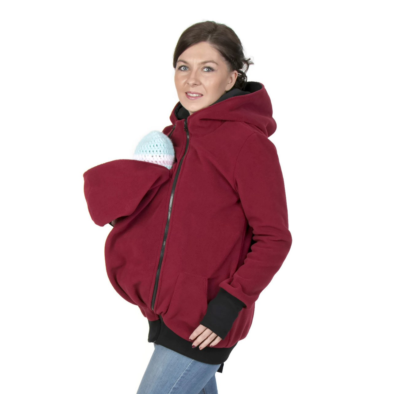 3in1 Maternity Polar Warm Fleece Hoodie / Pullover for Two / for Baby Carriers / Baby Carrying Wearing (L/XL US 10/12)