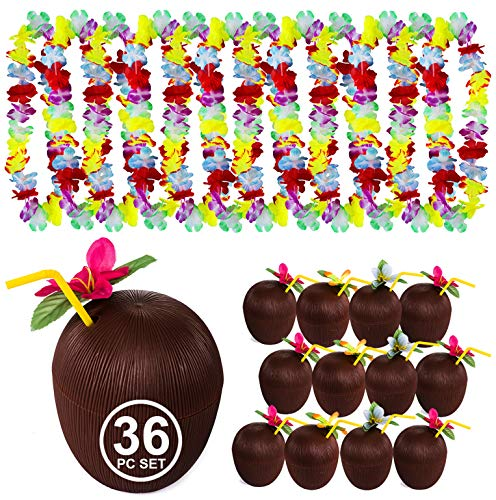 Tigerdoe Luau Party Supplies - Coconut Cups - Flower Leis - Tiki Party - Hawaiian Costume - Hawaiian Party Decorations (36 Pc Coconut Cups, Straws, and Leis) -