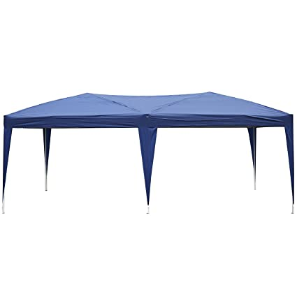 Blue Outsunny 6 X 3M Heavy Duty Waterpoof UV Resistant Pop Up Gazebo Canopy Marquee Party Tent Wedding Awning Canopy w//Carrying Bag
