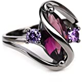 Sapphire Black Gold Plated Rings with Horse Eye Shape AAA Zircon Engagement Rings,5/6/7/8/9/10