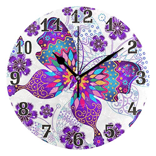 WXLIFE Floral Flower Butterfly Round Acrylic Wall Clock, Silent Non Ticking Art Painting for Kids Bedroom Living Room Office School Home Decor