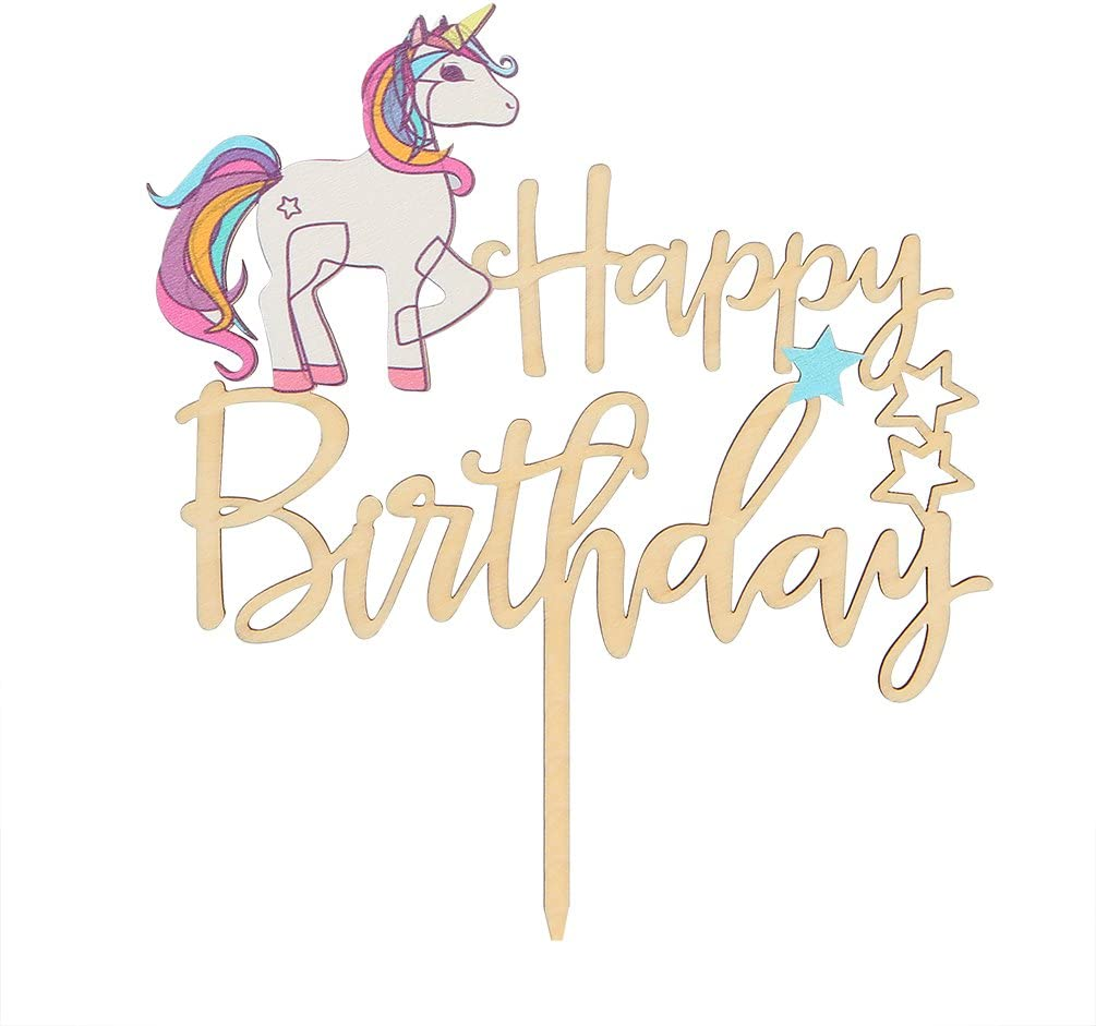 lacquered gift for birthday name day Cake Topper Happy Birthday with unicorn wooden lasered