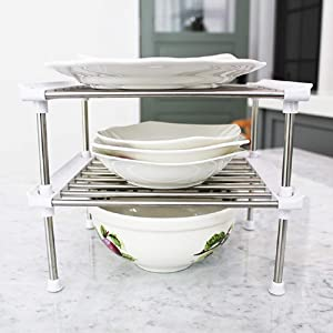 Kitchen Pantry, Countertop Organizer Storage Shelves, Raised Cabinet Shelf Racks - for Food, Dishes, Plates, Dishes, Bowls, Mugs, Glasses Non-skid Feet (2 Pieces, 10 x 8 x 4 inch (Small))