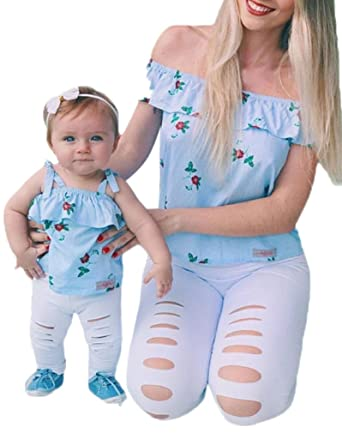 357e315ecf Family Matching Shirt Mommy & Me Clothes Mom & Baby Parent-Child Off  Shoudler T