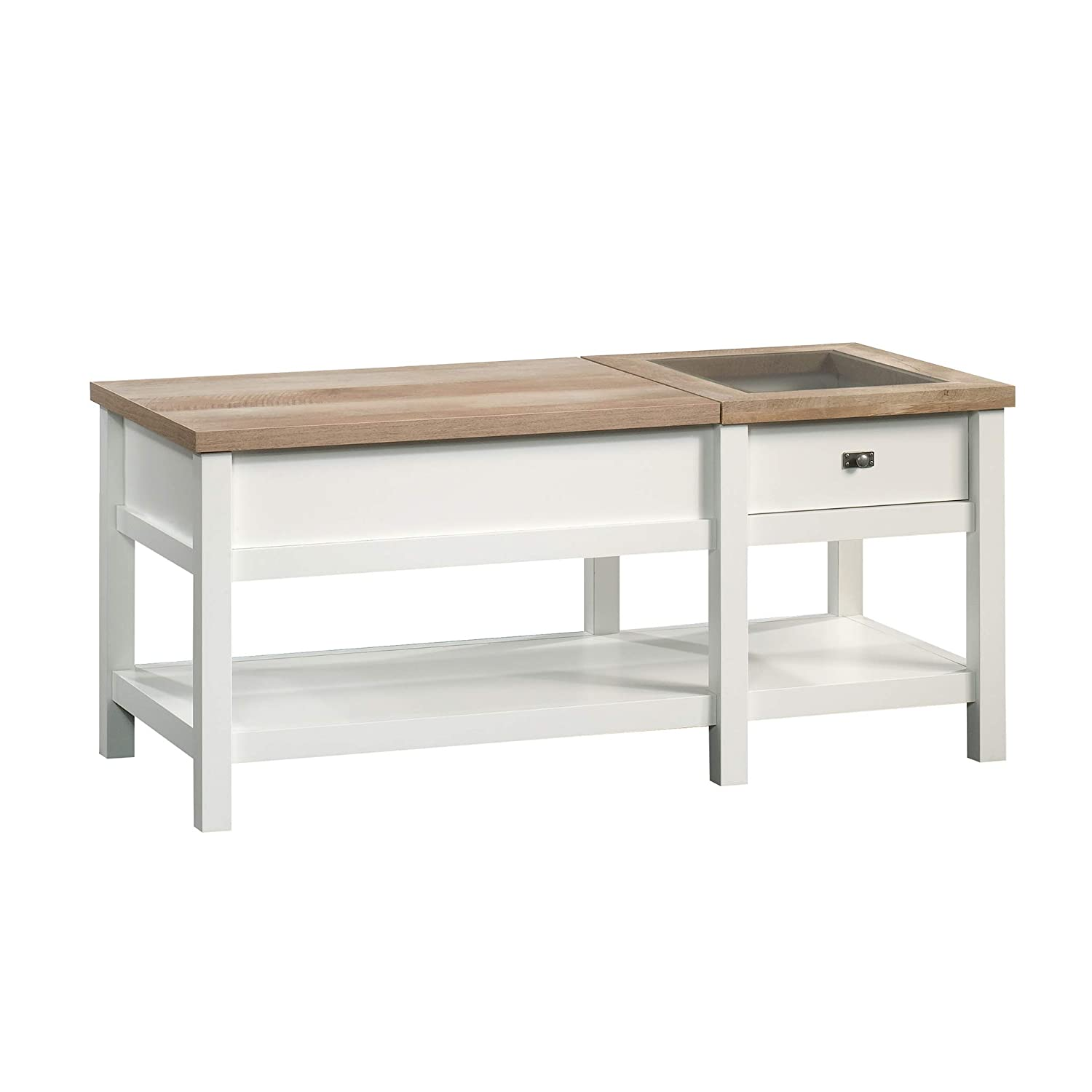 White Lift Up Coffee Table.Sauder 421463 Cottage Road Lift Top Coffee Table L 42 91 X W 19 02 X H 18 98 Soft White Finish