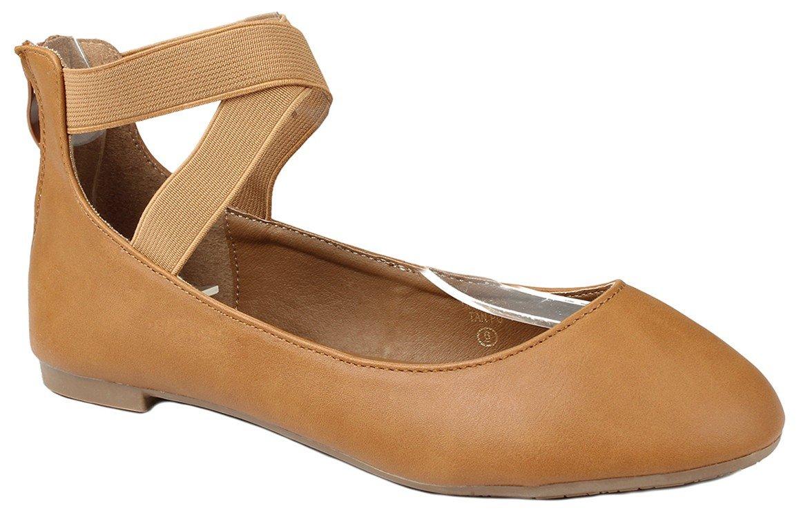 JJF Shoes Women Criss Cross Elastic Strap Round Toe Back Zip Comfort Loafer Ballet Dress Flats B01LQWJJRU 9 B(M) US Tan Pu_19