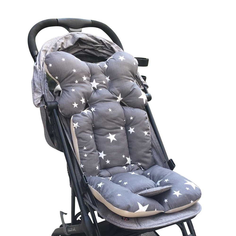 Msliy Universal Baby Stroller Cushion Infant Car Seat Liner Pure Cotton Thick Pad 13.7x30.7 Inches (Grey Star) by Msliy