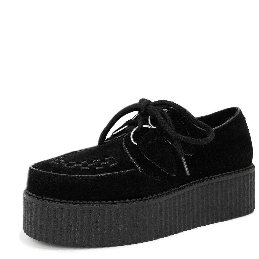 Spy Love Buy MATILDA Zapatos Plano Plataforma con Cordones 40 EU|Negro - Gamuza Sintética