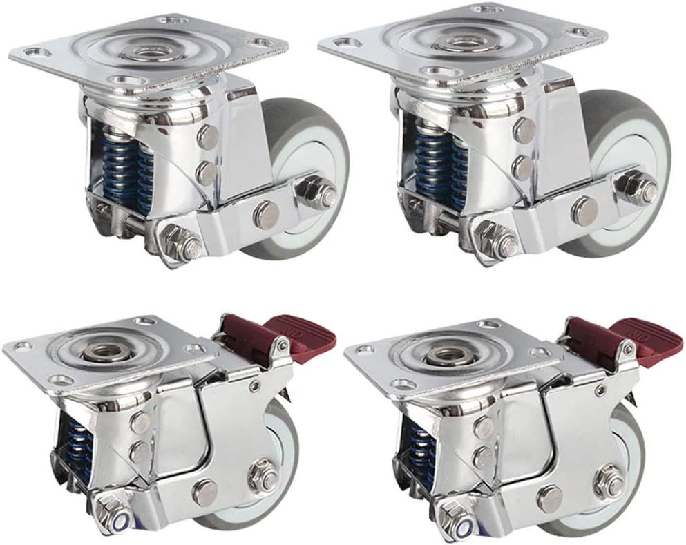 4X Swivel Casters,3//4//5in Gate Spring Shock-Absorbing Castor,Can Brake,4 Wheels Load 300KG,for Heavy Equipment,Carts,Shelves,for Rough Ground//A 75mm