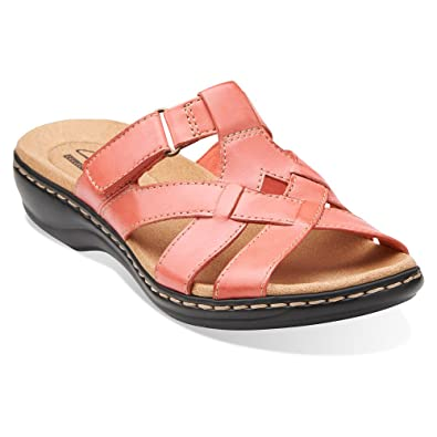 Clarks Leisa Bloom Womens Coral Leather Sandal 8-MEDIUM