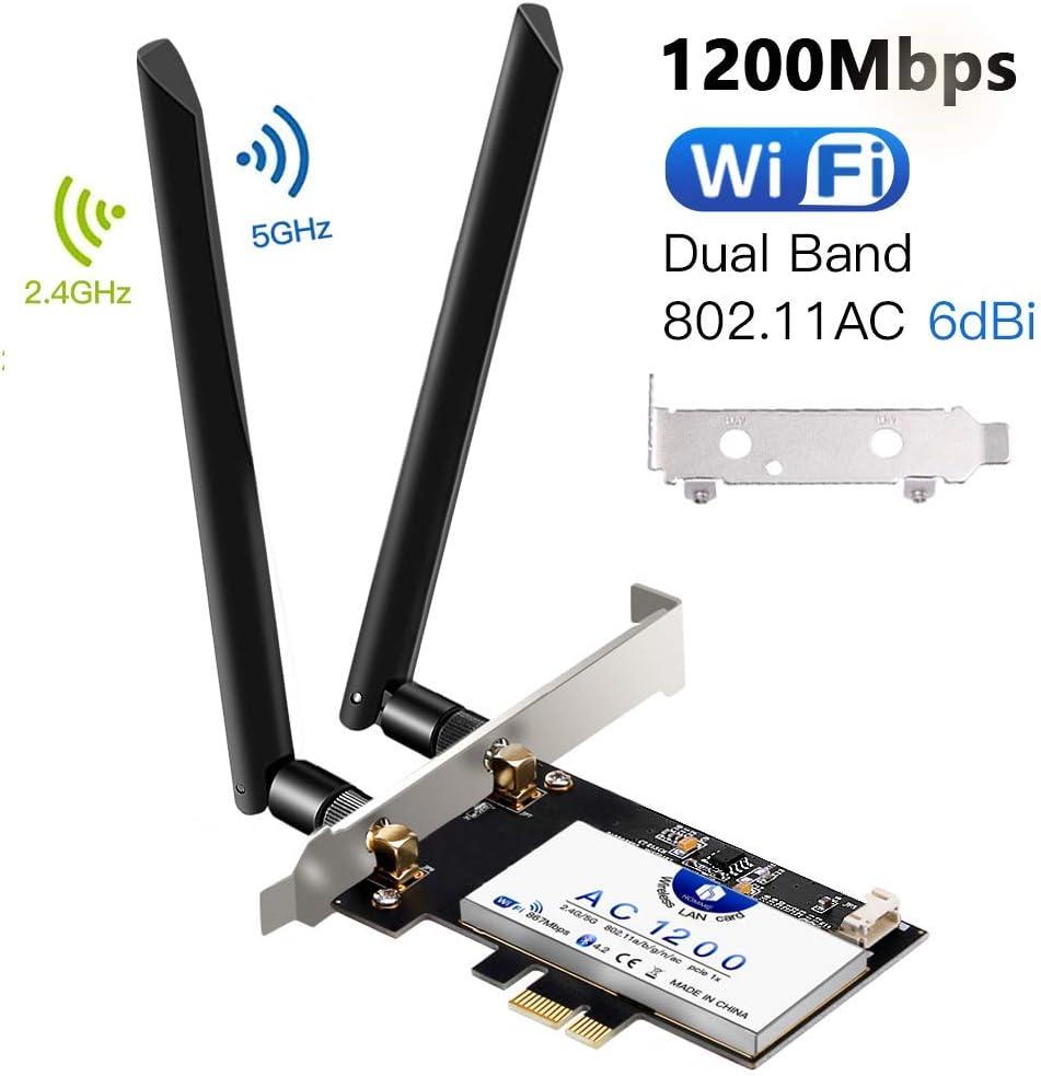 Tarjeta de Red Wi-Fi con Bluetooth 4.2, Hommie 1200M 867mbps Adaptador de Red Gigabit PCI, Inalámbrico Express Doble Banda 802.11ac, Intel 7265AC Tarjeta Wifi con 2 Antenas 6db, Win7/8/10, Linux4.2+