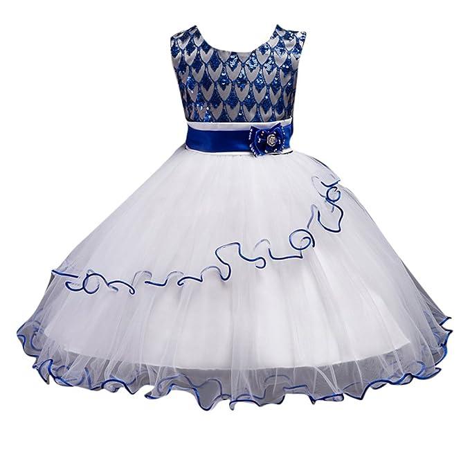 Vestido Elegante Boda Fiesta con Flores para Niña Vestido de Princesa Tul Lentejuelas Tutu Vestidos de