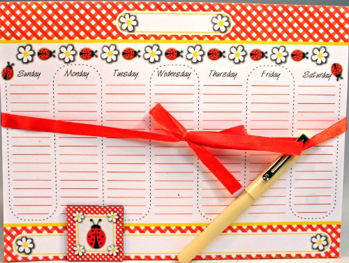 Magnetic Memo Weekly Calendar Notepad Set, 52 Sheets with Pen & Decorative Magnet - Lady Bug Design