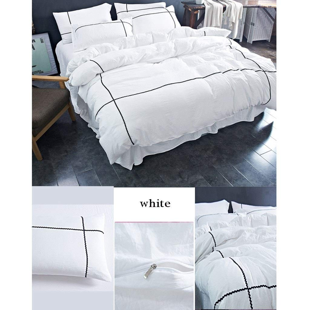HFYqiao Bedding 4 Sets of beds - Washed Cotton Craft - Five-Star Hotel Bedroom Solid Color Bed Set - Suitable for 200cm Double Bed White