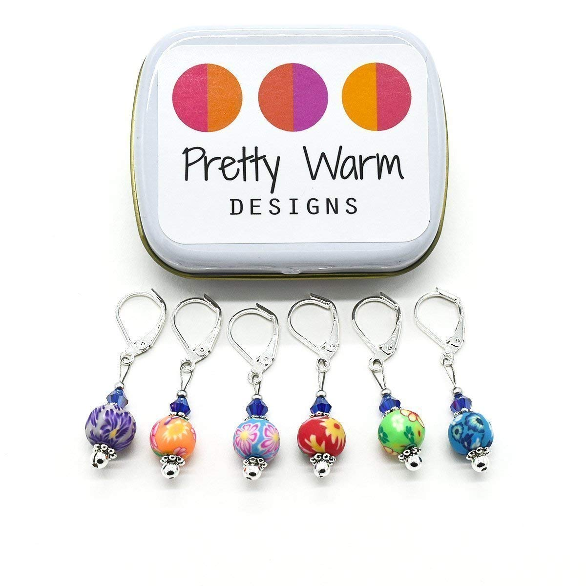 Multi Color Flower Bead Stitch Markers Jewelry for Crochet (Set of 6 with Tin)