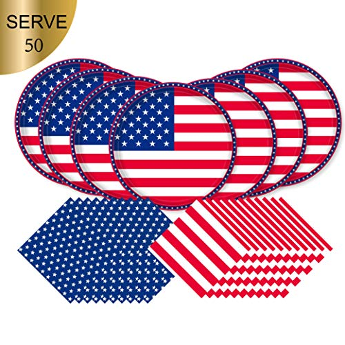 American Flag Patriotic Paper Tableware Set- 150 Pieces - Including Napkins, 10