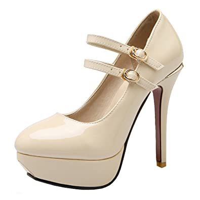 d800d186b67fc4 Missonly Women Mary Jane High Heels Platform Ankle Strap Plateau Patent  Leather Pumps With Buckle Court