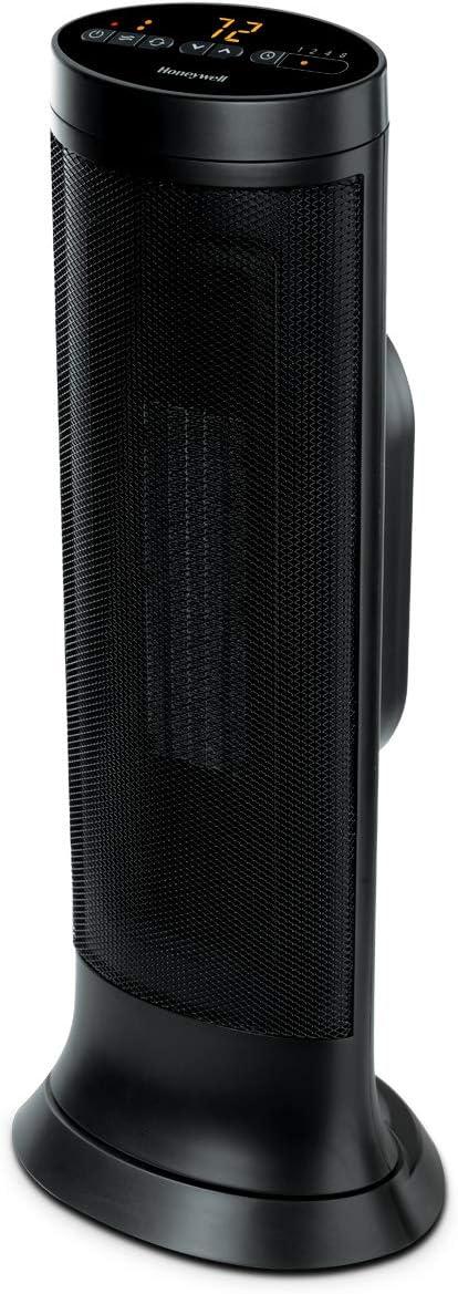 Honeywell Slim CeramicTower Heater, Large Room, Black – Easy to UseCeramic Heater– SlimSpace Heaterwith Two Heat Settings