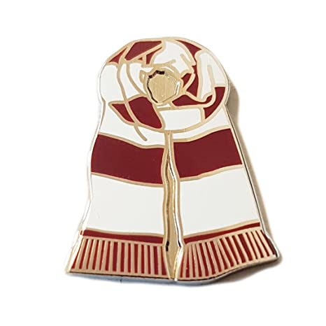 8de8f93078c PIN BADGE Selection *Bar Scarf Design* (Red & White): Amazon.co.uk: Sports  & Outdoors