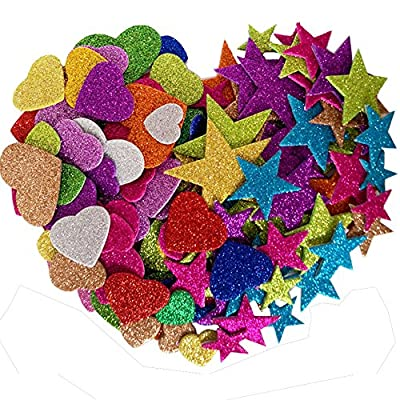 EVAIL Foam Glitter Stickers - Creative Colorful Star and Mini Heart Shapes For Crafts Decorative Stickers Self Adhesive 1.1 Ounce 120 pieces