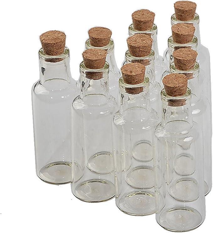 Tiny Glass Bottles Cork Small Vials Empty Mini Jars Little 10 Pcs Crafts Pendant
