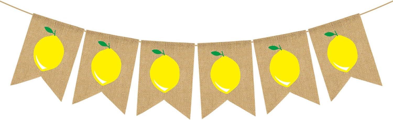 Rainlemon Jute Burlap Lemon Banner Summer Lemon Theme Baby Shower Gender Reveal Birthday Party Mantel Fireplace Decoration
