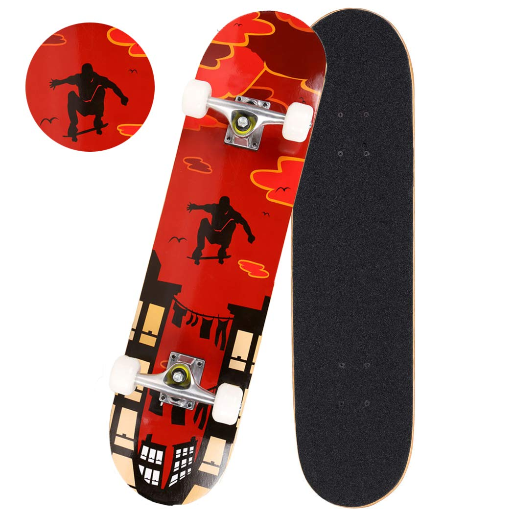 Anfan 31'' Pro Complete Skateboard, Adult Tricks Skate Board with 9 Layer Canadian Maple Wood, Double Kick Tail for Beginner Kids Boys Girls 5 Up Years Old (US Stock) (Red Pose)