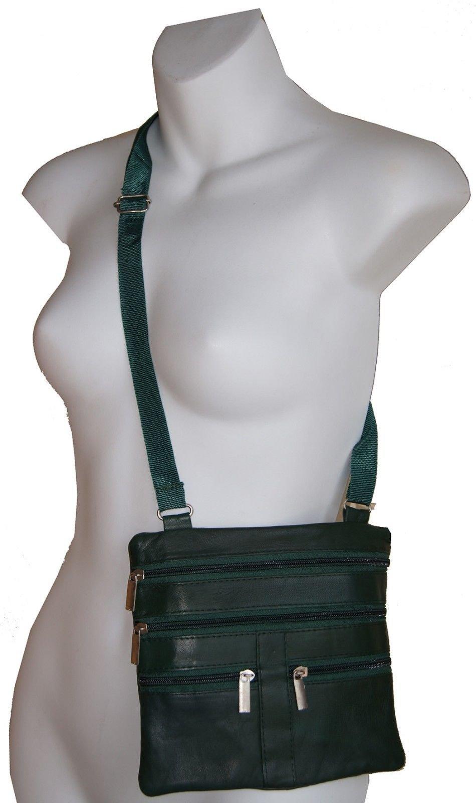 Green Ladies Genuine Leather Cross Body Bag Satchel Messenger Bag 48'' Strap
