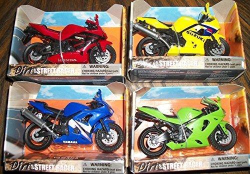 (4) Motorcycles , Green Kawasaki,Yellow Suzuki,Blue YAmaha./Red Honda 1.18 Scale (Farmers Market Costume)