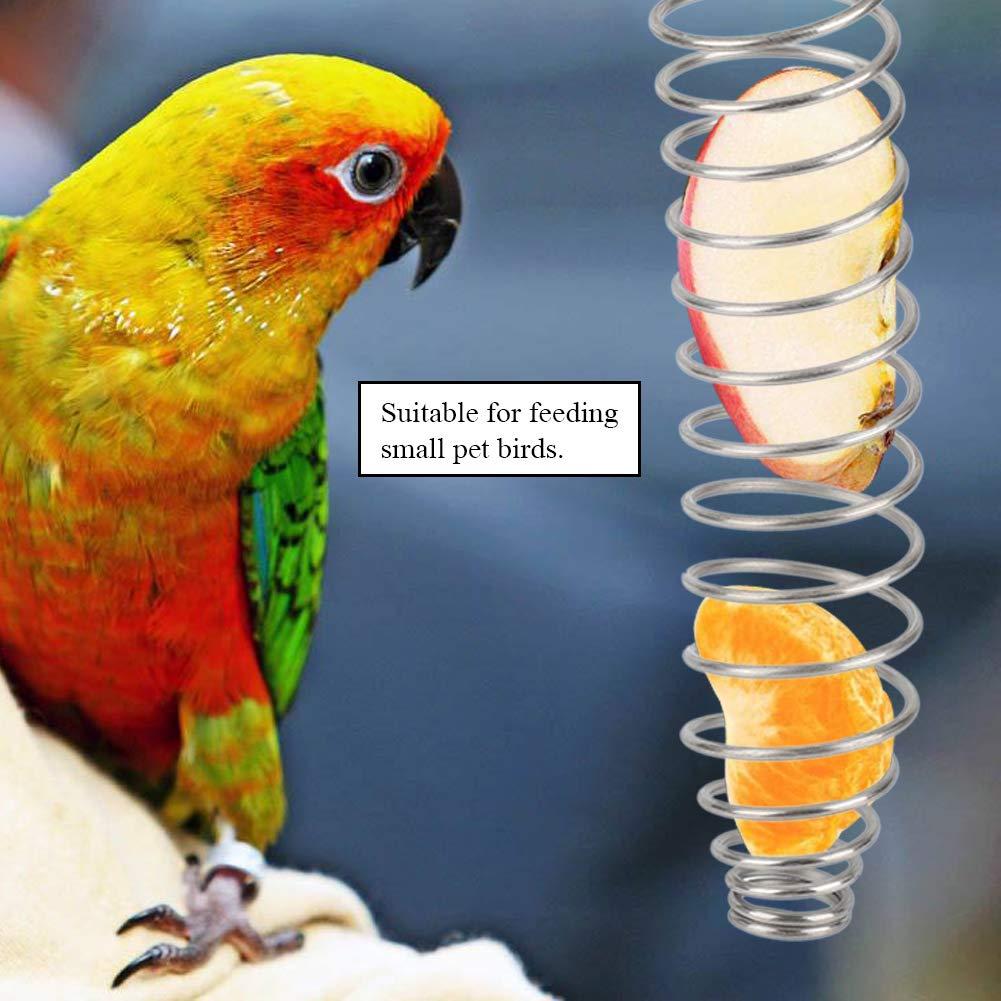 Ichiias Alimentador de Loros Acero Inoxidable Aves Canasta de Alimentos Juguetes Oreja de Trigo Alimentador de Frutas y Verduras