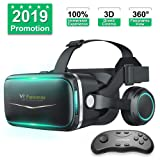 Pansonite Vr Headset with Remote Controller[New Version], 3D Glasses Virtual Reality Headset for VR Games & 3D Movies, Eye Care System for iPhone and Android Smartphones (Color: black)