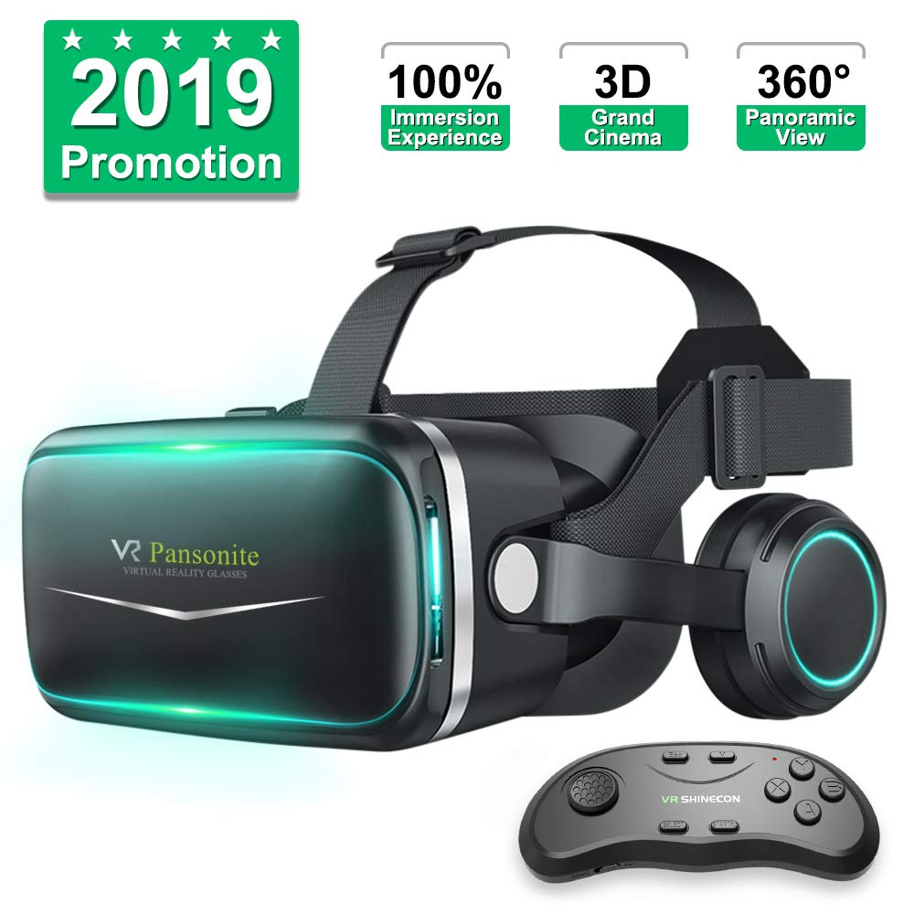 Pansonite Vr Headset with Remote Controller[New Version], 3D Glasses Virtual Reality Headset for VR Games & 3D Movies, Eye Care System for iPhone and Android Smartphones by Pansonite