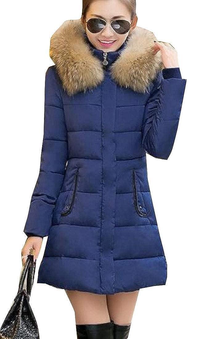 bluee jxfd Women Hoodie Packable Long Sleeve Faux Fur Hoode Padded Coat Jacket