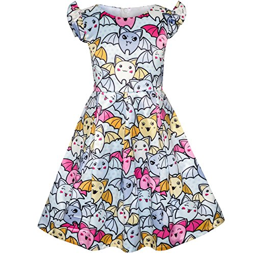 Sunny Fashion KY45 Girls Dress Halloween Bat Print Costume Cartoon Dress Size 8