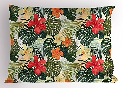 (Lunarable Leaf Pillow Sham, Hawaiian Summer Tropical Island Vegetation Leaves with Hibiscus Flowers, Decorative Standard Size Printed Pillowcase, 26 X 20 inches, Green Orange and Yellow)