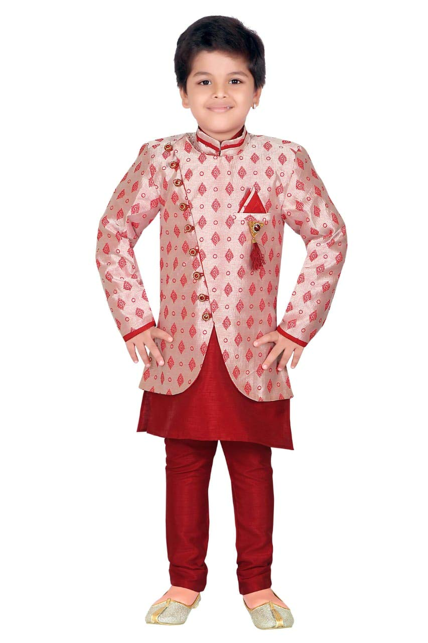 ahhaaaa Kids Ethnic wear Waistcoat, Indo Western Sherwani and Pyjama Set for Boys_MRN427-3