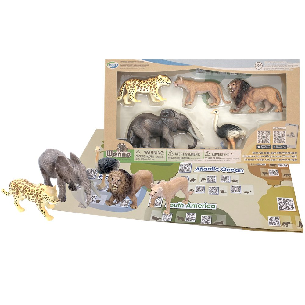 Wenno - Geology Animals Figures Habitats Educational Toys Set for Kids Children with World Map QR Code Learning Resource Africa