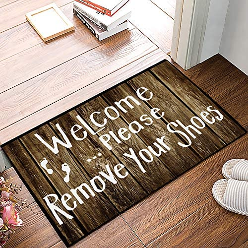 Arts Language Funny Doormats for Entrance Way Indoor Front Door Welcome Rugs Welcome Please Remove Your Shoes Printed Non-Slip Bath Mat Kitchen Mat Floor Carpet for Bedroom Office 20×31.5inch