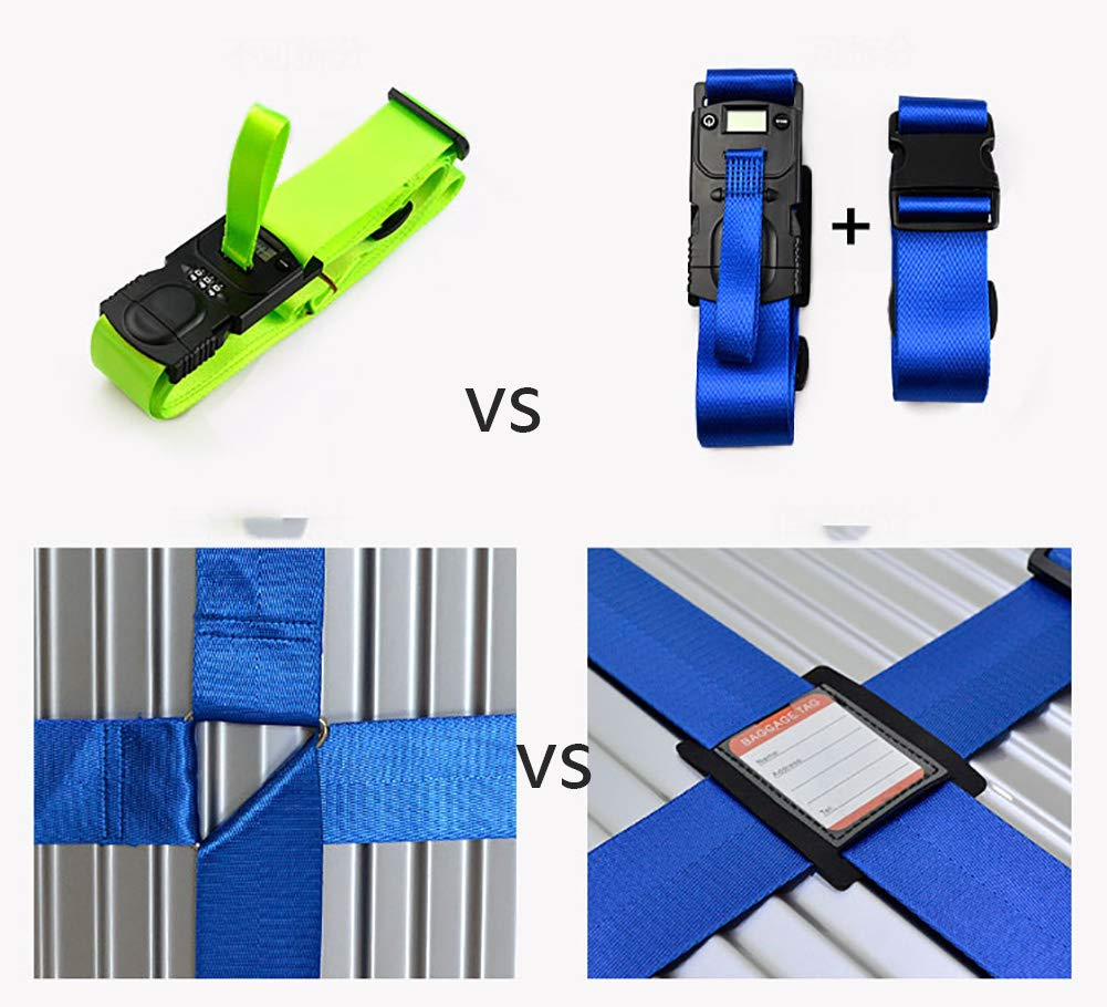 Adjustable Luggage Packing Belt with Password Lock Clip,Blue ZLQF Suitcase Luggage Straps