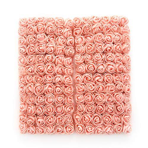 Artificial Mini Foam Pink Roses Flowers for DIY Party Festival Decor Home Wedding Decora DIY Needlework Bride Wreath Gift Box Fake Flower Bouquet 144pcs (Peach) ()