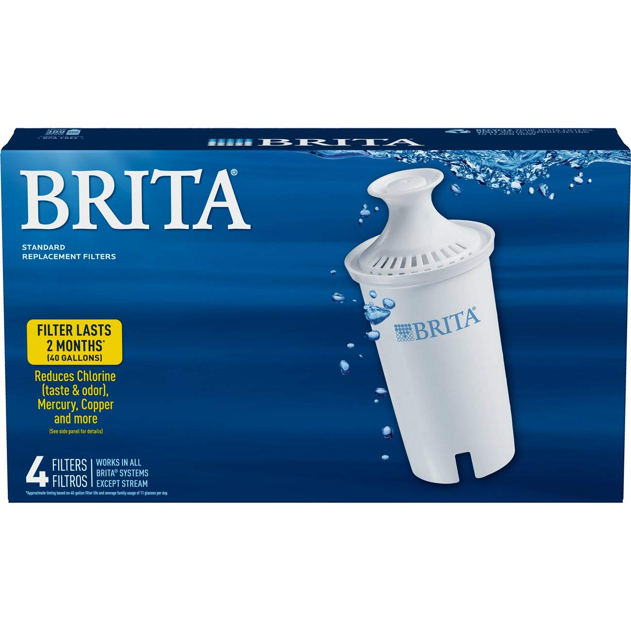 Replacement for Brita Classic 35557 Lake Compatible with Brita Pitchers Grand Mavea 107007 Wave and More FilterLogic Pitcher Water Filter Capri OB03 Pack of 6