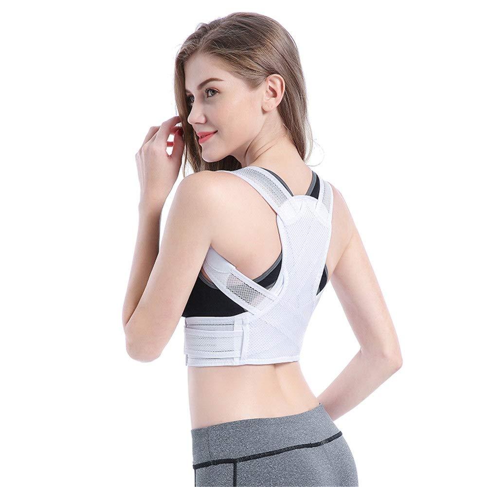 Corrector de postura Support Brace for Back Shoulder, Neck Pain Relief Clavicle Support Brace for Back Shoulder Posture Corrector Physiotherapy (Color : White, Size : S53-64cm)