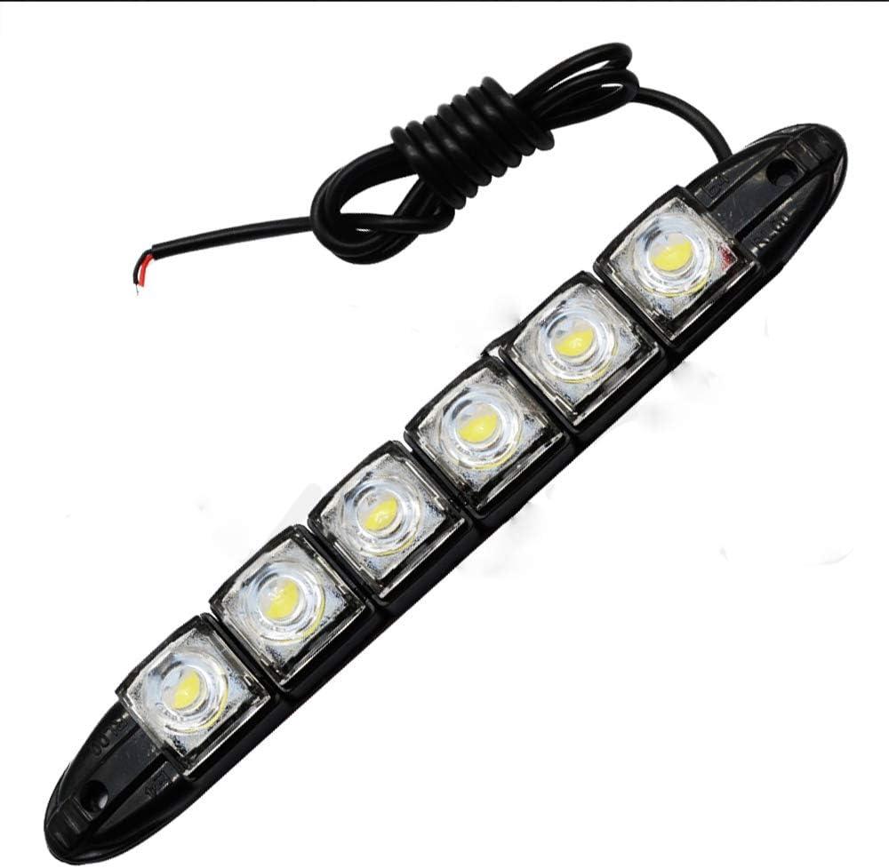 MACHSWON 2PCS 12V Car Daytime Running Light 16LED Bright White Waterproof DRL Fog Light Day Driving Lamp Adjustable Strip Lamp