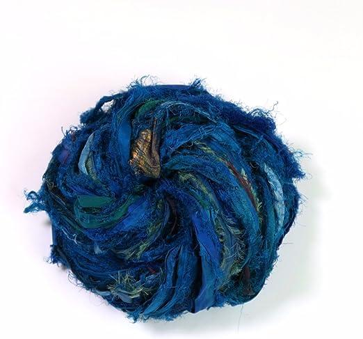 DARN GOOD YARN, Windswept Ribbon, 35 Yards, Turquoise, 100 Grams, 1 Skein