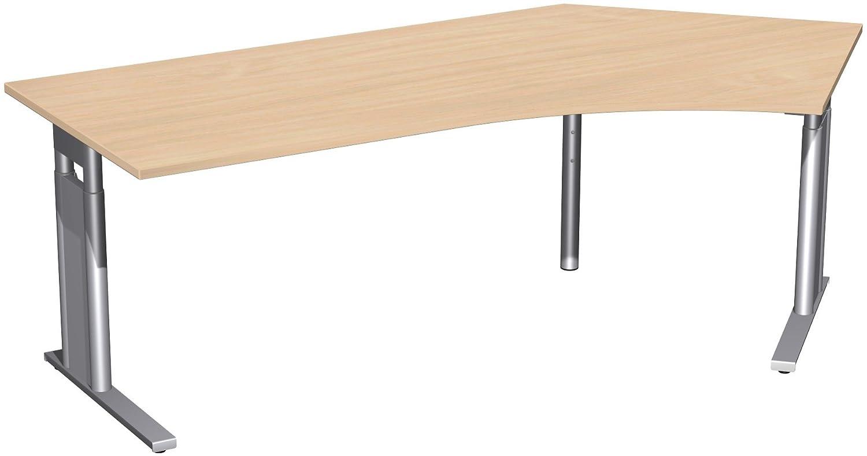 Geramöbel Schreibtisch 135° rechts höhenverstellbar, C Fuß Blende optional, 2166x1130x680-820, Buche/Silber