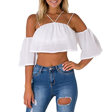 UK Plus Size Womens Beach Plunge Crop Top 3//4 Bell Sleeve Strappy Short Blouse